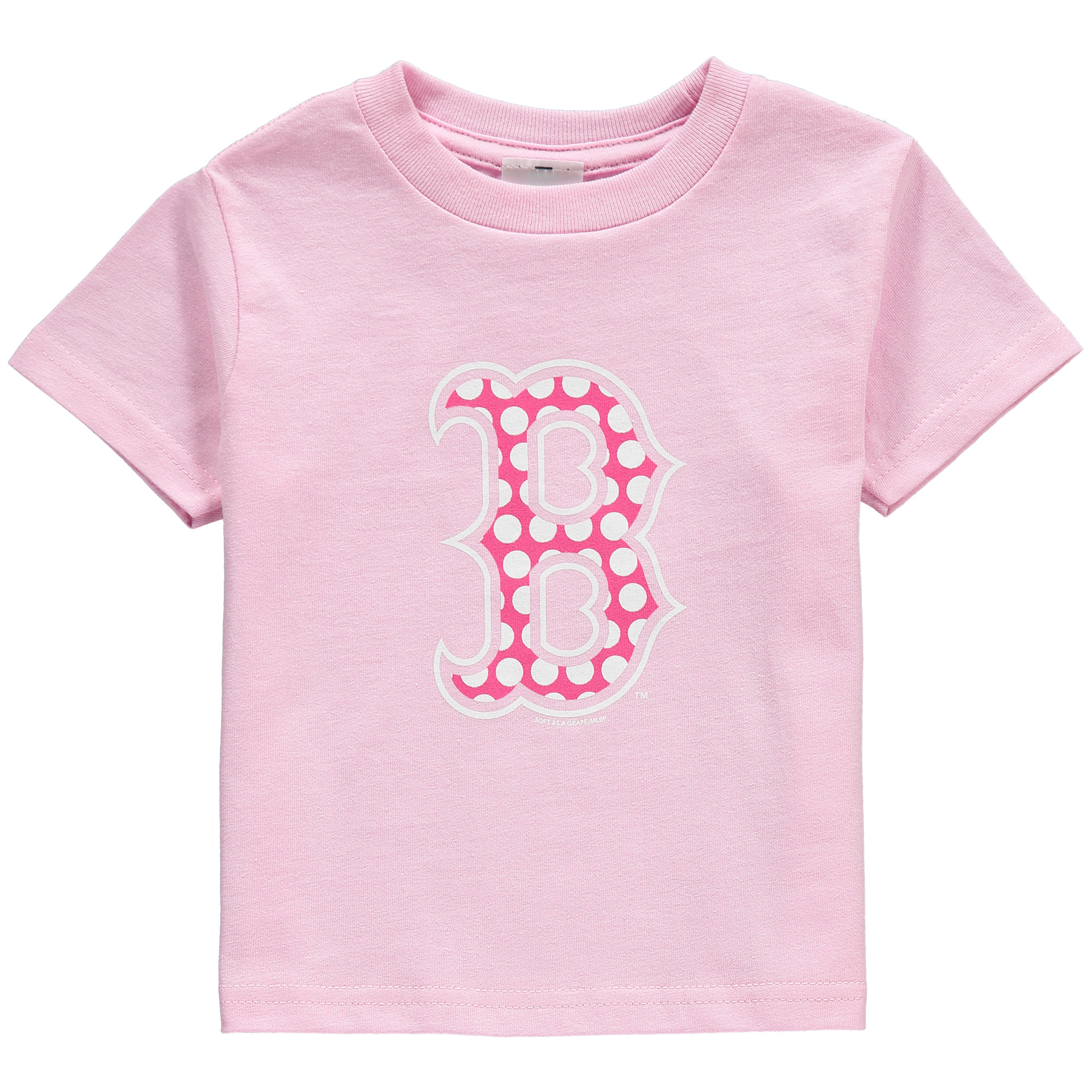 Boston Red Sox Soft as a Grape Toddler Girls Polka Dot Logo T-Shirt - Pink