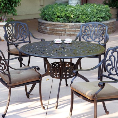 Incredible Elisabeth 4 Person Cast Aluminum Patio Dining Set With 48 Round Home Interior And Landscaping Eliaenasavecom