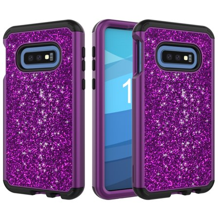 Galaxy S10e Case Glitter, S10E Case 2018, Allytech Hybrid Silicone + PC Full Protective Shiny Bling Back Cover Shockproof Dust Proof Girls Women Bumper Case Cover for Samsung Galaxy S10e, Purple