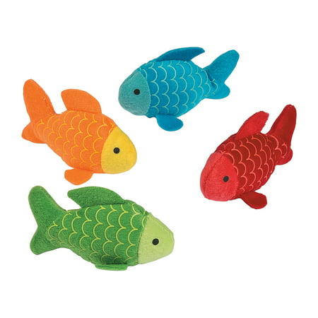 Fun Express - Little Fisherman Plush Fish for Birthday - Toys - Plush - Stuffed Aquatic & Arctic - Birthday - 12 Pieces ()