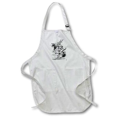 3dRose Alice in Wonderland White Rabbit in costume. John Tenniel illustration, Medium Length Apron, 22 by 24-inch, With Pouch Pockets - Alice In Wonderland Costume White Rabbit