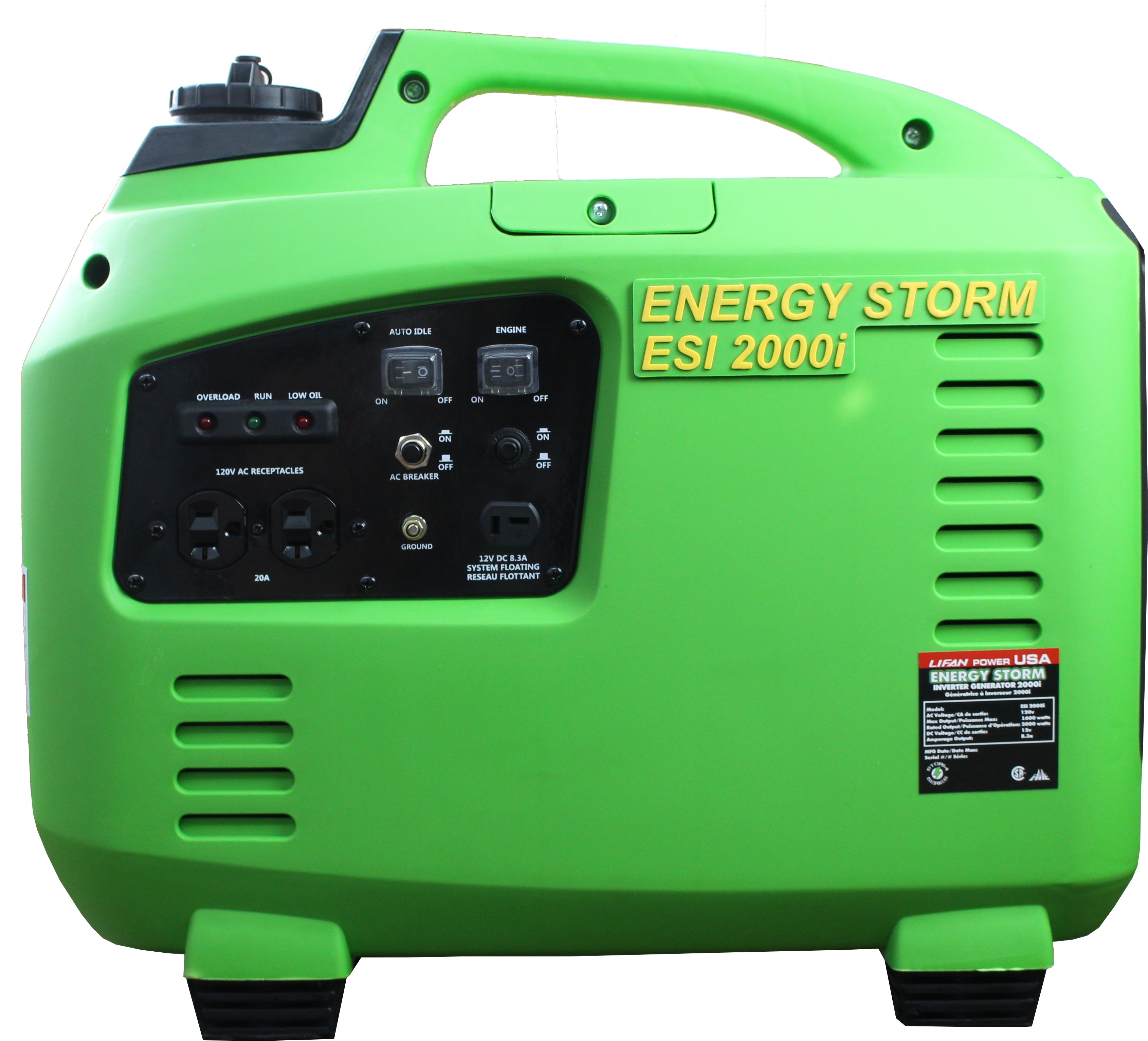 Tailgater/Camping Special, Energy Storm ESi2000i-CA (California Sales Compliant) 105cc Gasoline Powered Inverter Generator, light weight power, 50 State and Canada Sales Compliant