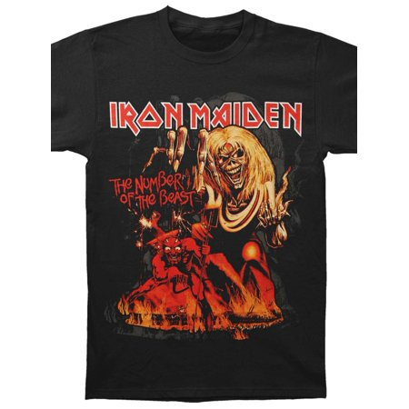Iron Maiden Men's  Number Of The Beast T-shirt Black (Halloween Is My Name Iron Maiden)