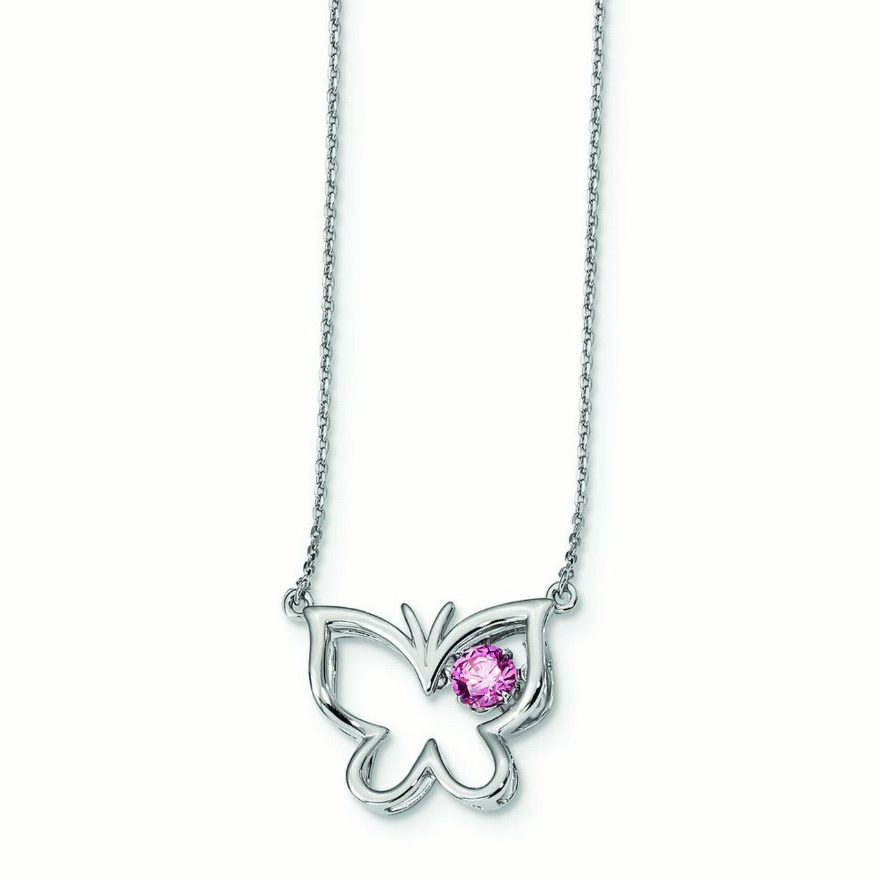 1.01mm Sterling Silver Platinum Plated Pink Vibrant Cubic Zirconia Butterfly 2inch Ext. Necklace 15.5 Inch by