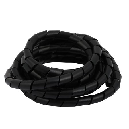 Flexible Spiral Tube Cable Wire Wrap Black Manage Cord 12mm Dia x 2.5 Meter Long - image 2 de 2