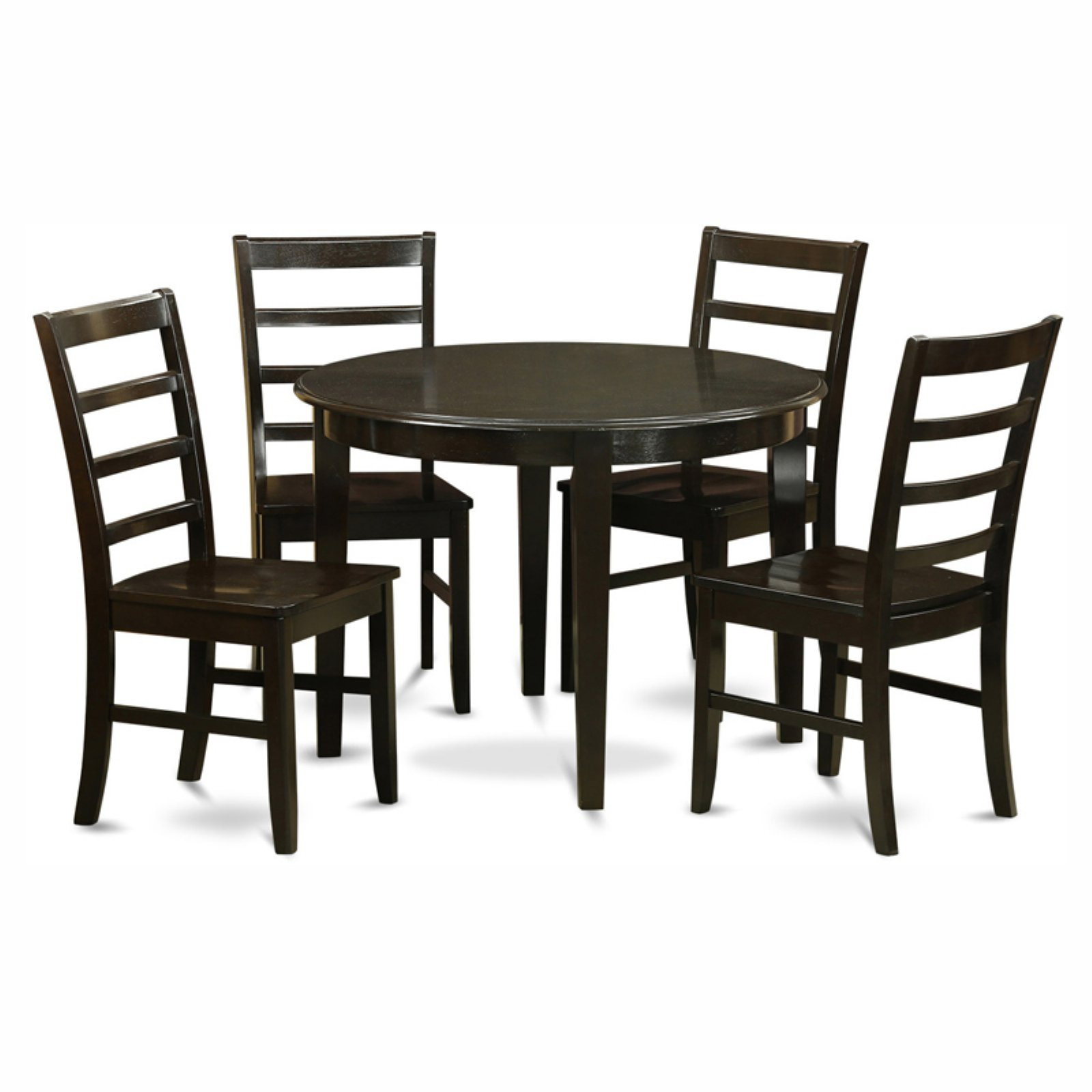 East West Furniture Boston 5 Piece Round Dining Table Set with Parfait Wooden Seat Chairs