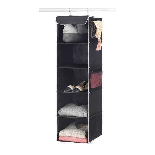 Delicieux 5 Shelf Hanging Closet Organizer   6 Side Mesh Pockets Breathable  Polypropylene Hanging Shelves