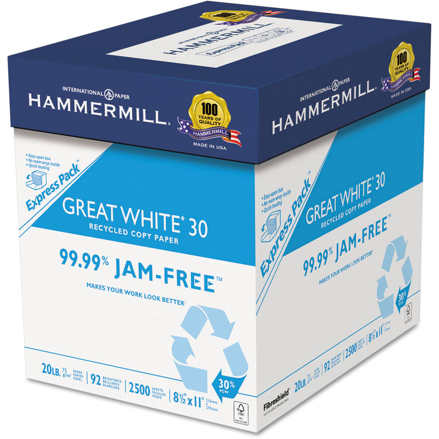"Hammermill Great White Recycled Copy Paper, 92"" Brightness, 20 lb, 8.5"" x 11"", 2500 Sheets, Equivalent to 5 Reams, Express Pack In Box Only (Not Individual Reams)"