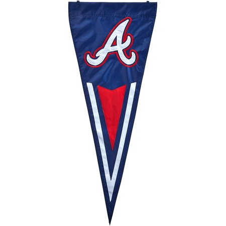 Atlanta Braves Applique - MLB Atlanta Braves Yard Pennant, Applique and Embroidered vertical pennants can be used as wall hanging or yard pennant By Party Animal