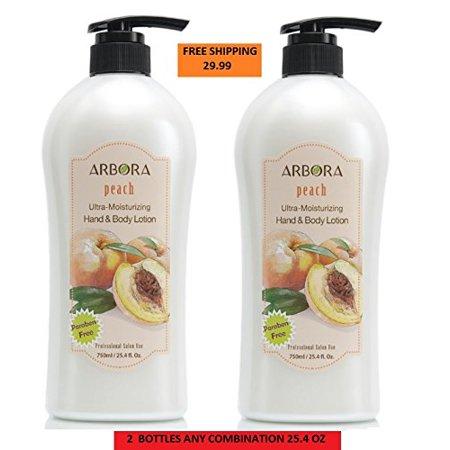 - ARBORA DUO 2 Hand & Body Lotion PEACH 25.4OZ/750ML  Paraben Free Natural Ultra-Moisturizing, Professional Massage Lotion Original from Korea