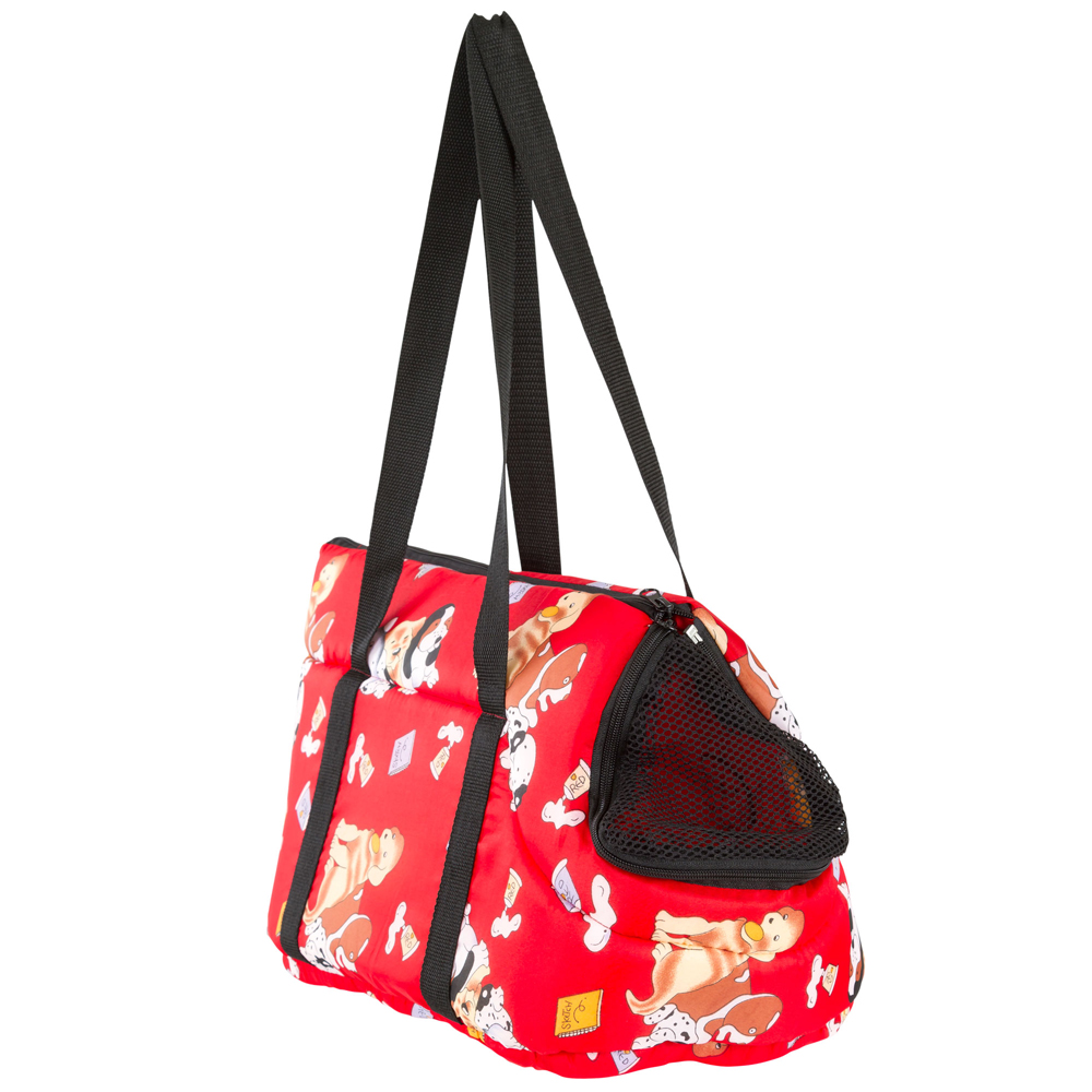 Pet Carrier Fashion Bag in Red with Animal Print Design