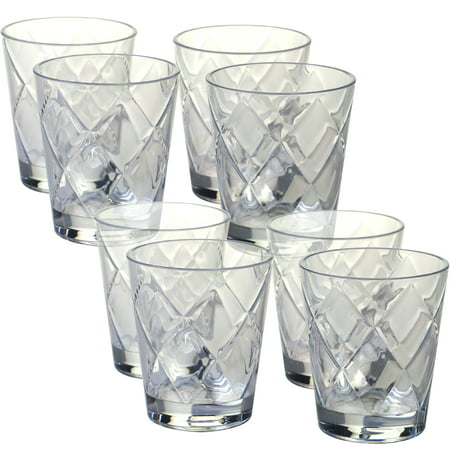 Clear Set/8 Acrylic DOF Glass 15 oz. (170 Grams) - Green Cocktail Glasses