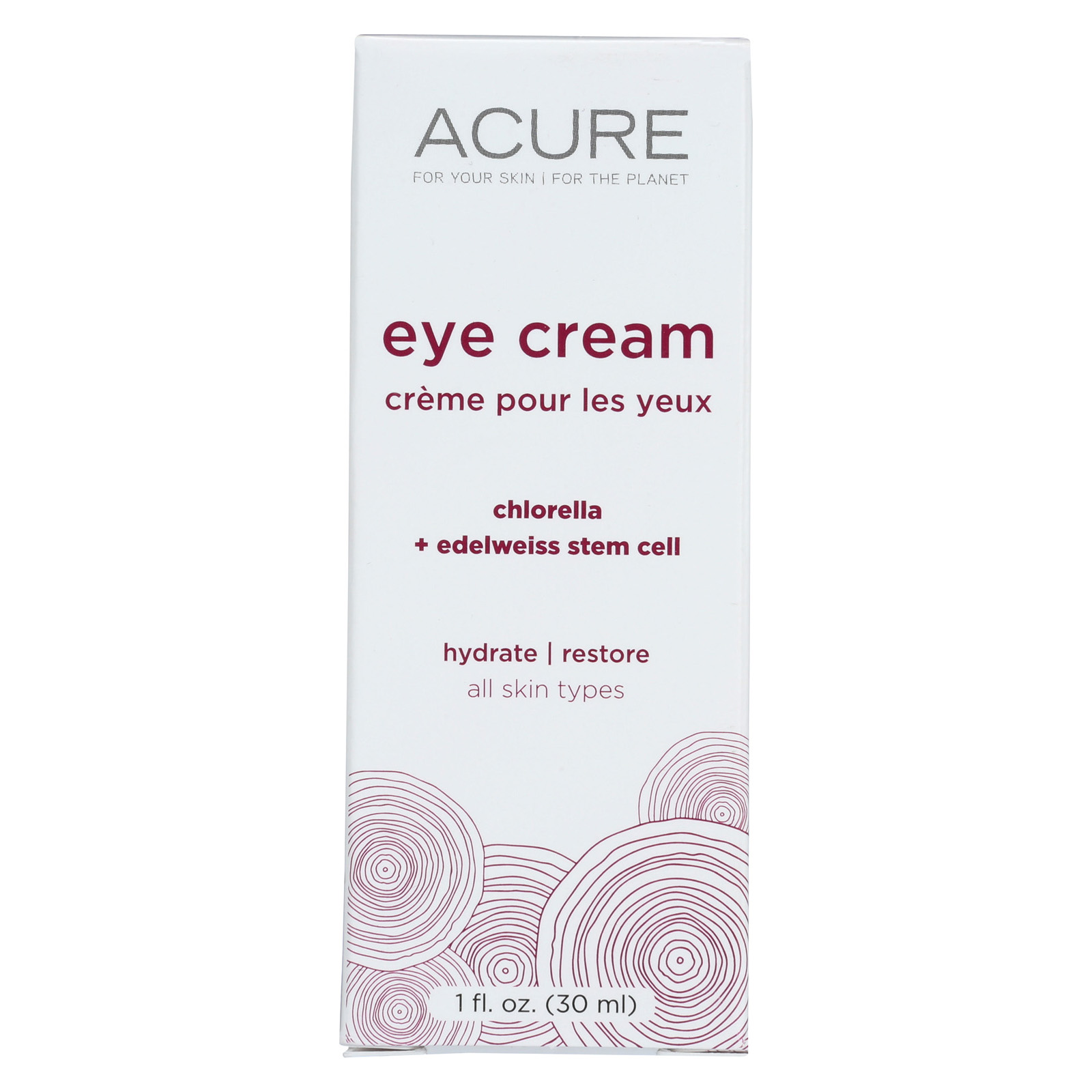 Acure Eye Cream - Chlorella and Edelweiss Stem Cell - 1 FL oz. - (Pack Of 2)