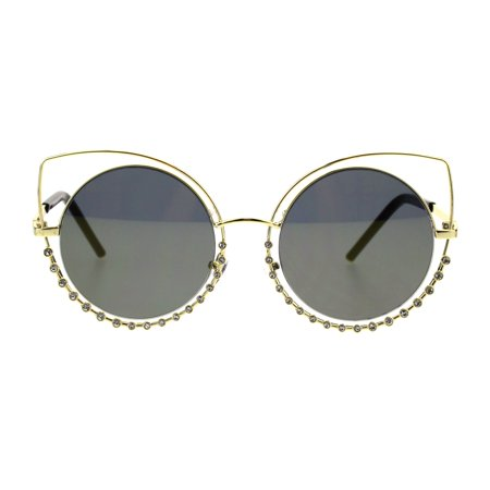 1fa43d186ef SA106 - Womens Rhinestone Iced Out Round Circle Lens Double Rim Cat ...