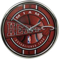 Miami Heat 12'' Chrome Wall Clock - No Size