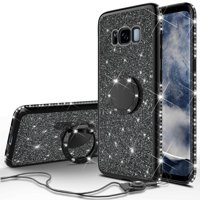 Glitter Cute Ring Stand Phone Case for Samsung Galaxy S8 Plus Case, Bling Rhinestone Bumper Kickstand Sparkly Luxury Clear Thin Soft Protective for Girls Women - Black