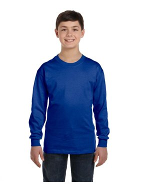Hanes Youth Comfort Soft; TAGLESS; Long-Sleeve T-Shirt, Color: Black, Size: XS --- PACK OF 2 (Boys - Original Company Packing)