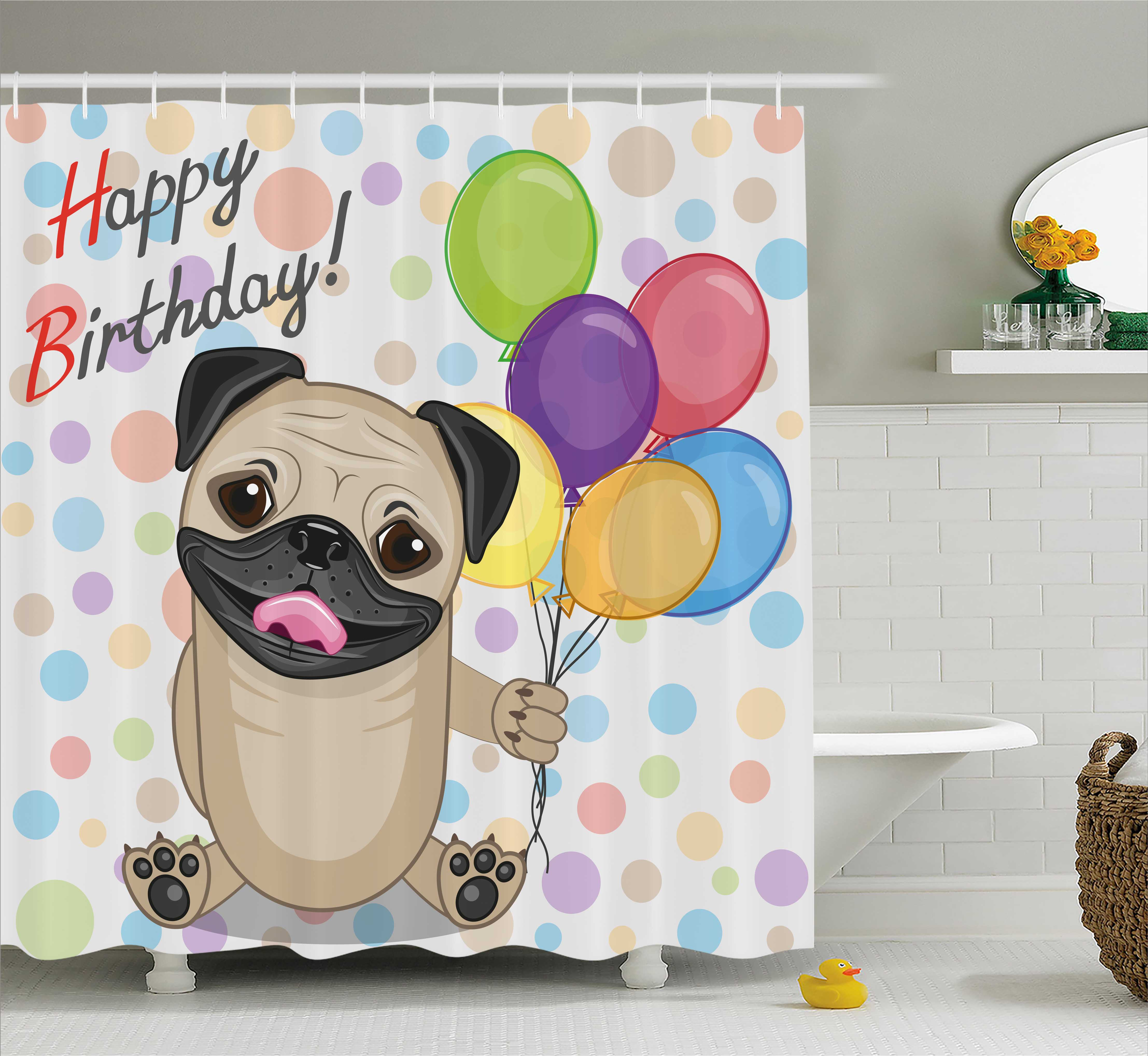Birthday Decorations for Kids Shower Curtain, Animal Cute Dog Smiling Pug with Party Balloons Greeting Card, Fabric Bathroom Set with Hooks, 69W X 70L Inches, Multicolor, by Ambesonne