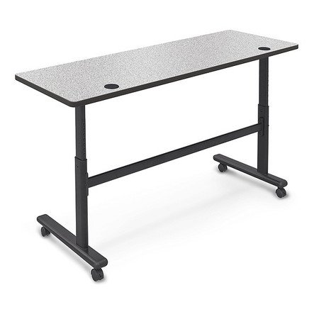 "BALT Mobile Table,Rectangle,Gray Nebula,60""W 90316-4622-BK"