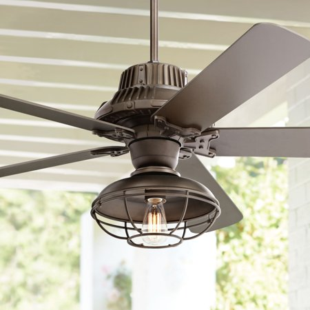 60 Casa Vieja Rustic Outdoor Ceiling Fan With Light Cage Oil Rubbed Bronze Damp Rated For Patio Porch