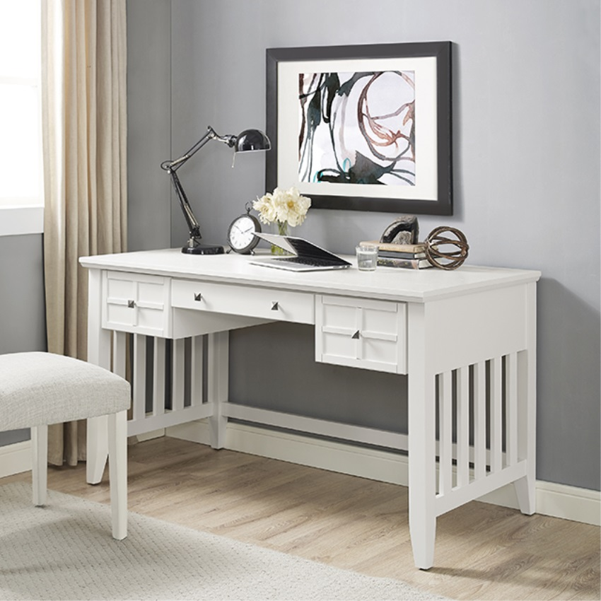 adler computer desk in white finish