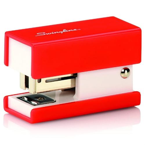 "Swingline Mini Stapler, Fashion, 12/ST Cap, 3.75""x1.17""x4.8"", Red 87873"
