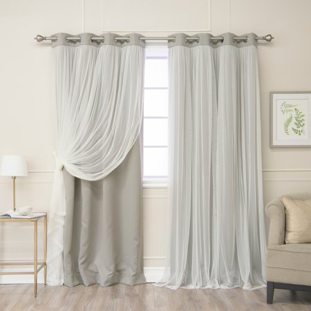Aurora Home  Gathered Tulle Overlay Blackout Curtain Panel (Requires Overlay Panel)