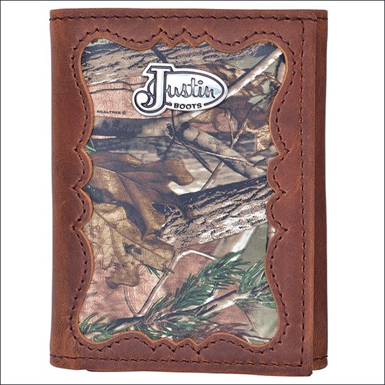 JUSTIN BROWN DISTRESSED CAMO LEATHER SHELL INLAY WESTERN TRIFOLD MENS WALLET