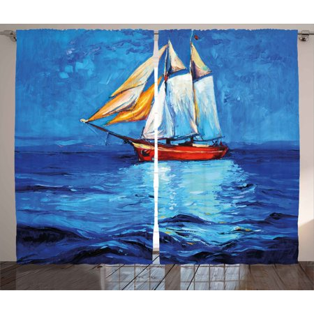 Nautical Curtains 2 Panels Set, Oil Painting Style Sailing Ship on Horizon Impressionist Art Image Print, Window Drapes for Living Room Bedroom, 108W X 63L Inches, Navy Blue and Blue, by Ambesonne