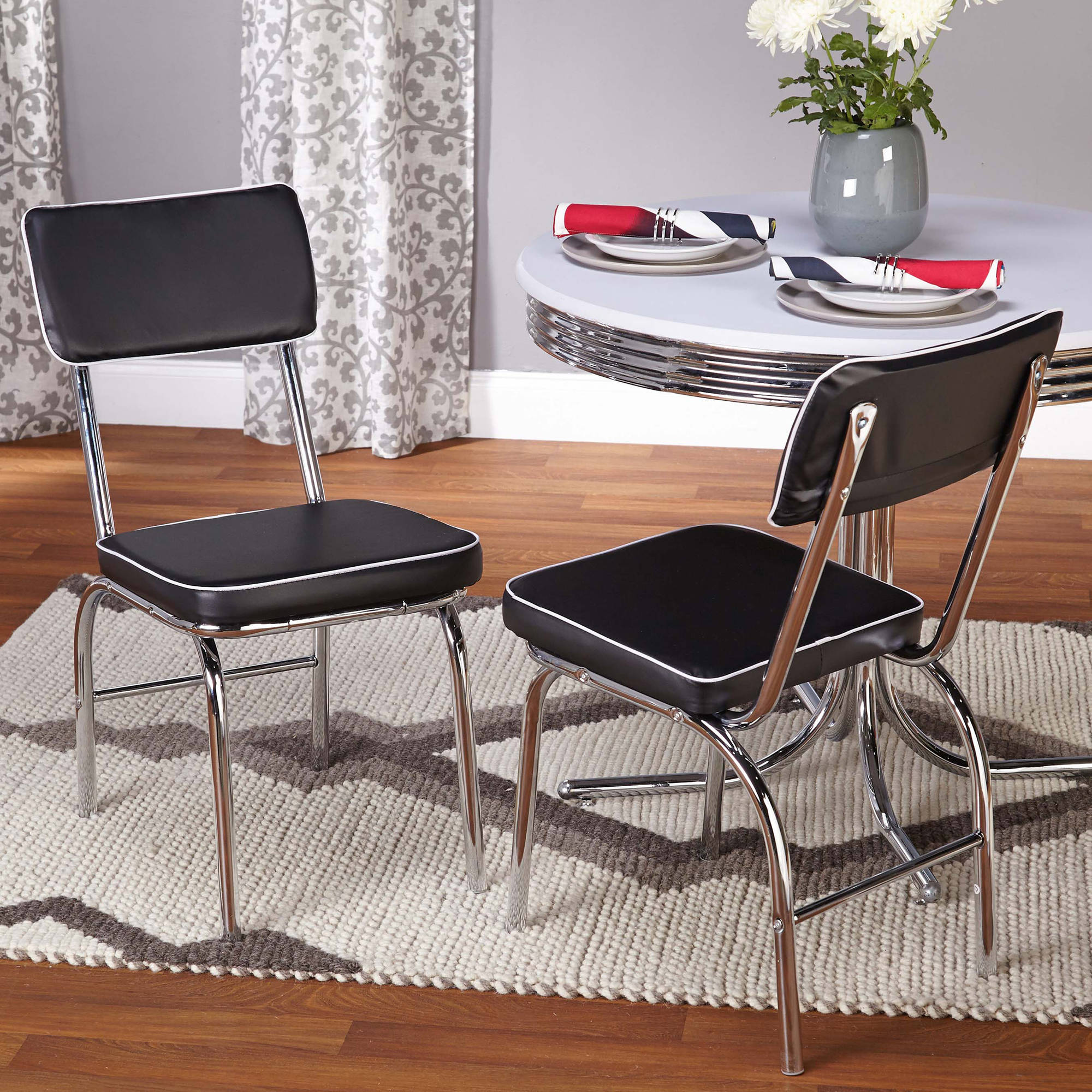 Retro Dining Chairs, Set of 2, Black