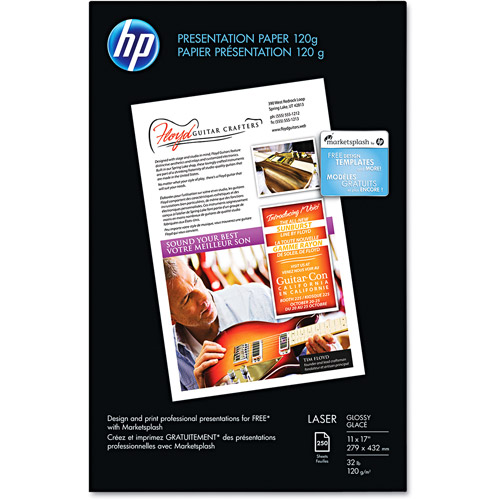 HP Color Laser Presentation Paper, 97 Brightness, 32lb, 11 x 17, White, 250/Pack