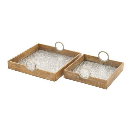 Fabulous Wood Aluminum Tray Set Of 2 for $<!---->