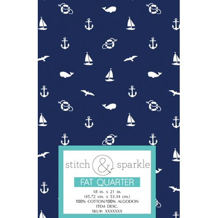 RTC Patriotic fabrics 100% Cotton, Nautical Ditsy, 140 Gsm, Fat Quarter, 3 pieces bundle ()