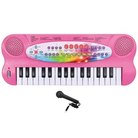 Elegantoss Kids 32 key Electronic Portable Multi-function Organ Keyboard Piano Great Educational Toy (Pink)