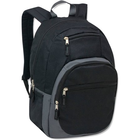 18 Inch Quad Pocket Backpack with One Main Section and Three Front Zippered Pockets