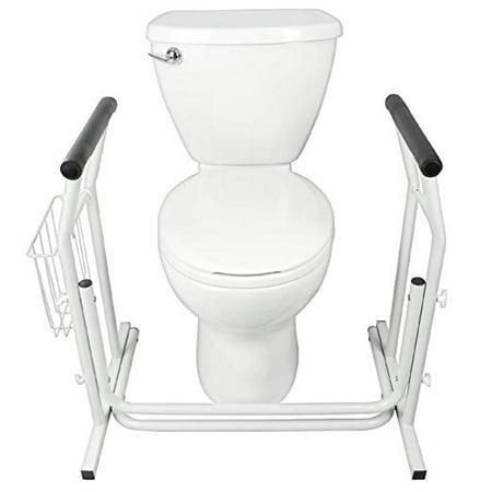 Zimtown Adjustable Stand Alone Toilet Safety Grab Rail Frame Bar Support & Magazine Rack Adjustable Toilet Safety Rail