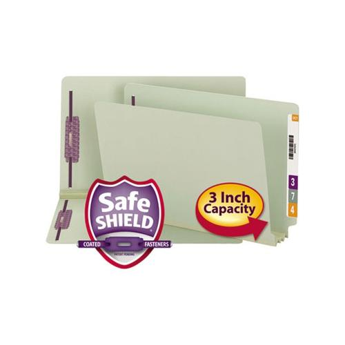 Smead 37725 Gray/Green End Tab Pressboard Fastener File Folders with SafeSHIE...