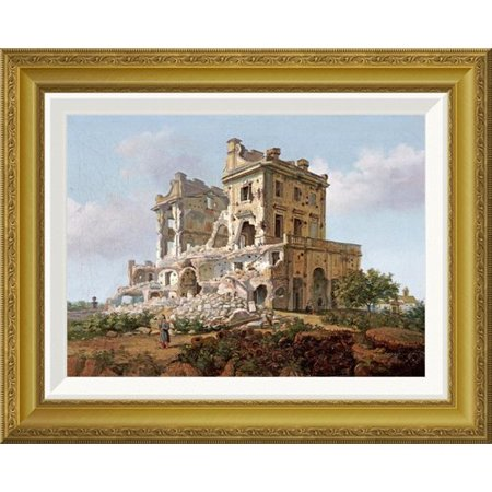 Global Gallery Villa Del Vascello  Al Gianicolo  Roma By French School Framed Painting Print