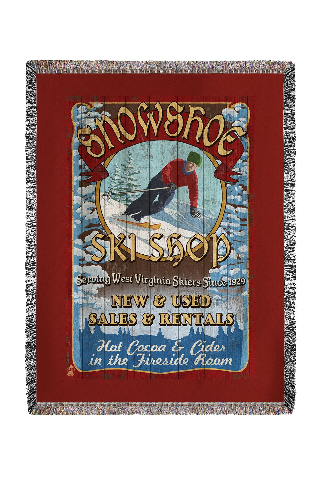 Snowshoe, West Virginia Ski Shop Vintage Sign Lantern Press Artwork (60x80 Woven Chenille Yarn Blanket) by Lantern Press