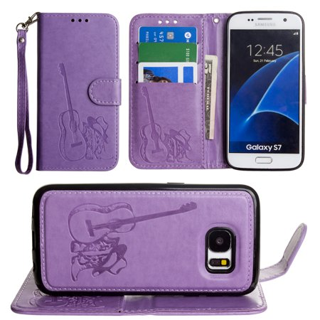 new arrivals e68f2 d3788 Mobovida Country Western Wallet with Matching Detachable Magnetic Phone  Case and Leather Wristlet Embossed Cowgirl Boots Samsung Galaxy S7 Lavender