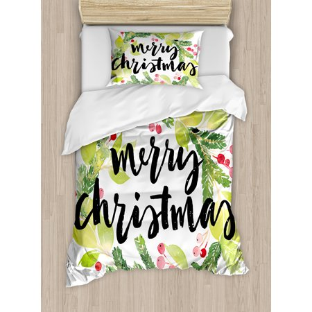 Christmas Twin - Christmas Twin Size Duvet Cover Set, Watercolor Painting Style Christmas Wreath and Hand Lettering Mistletoe, Decorative 2 Piece Bedding Set with 1 Pillow Sham, Black Green White, by Ambesonne