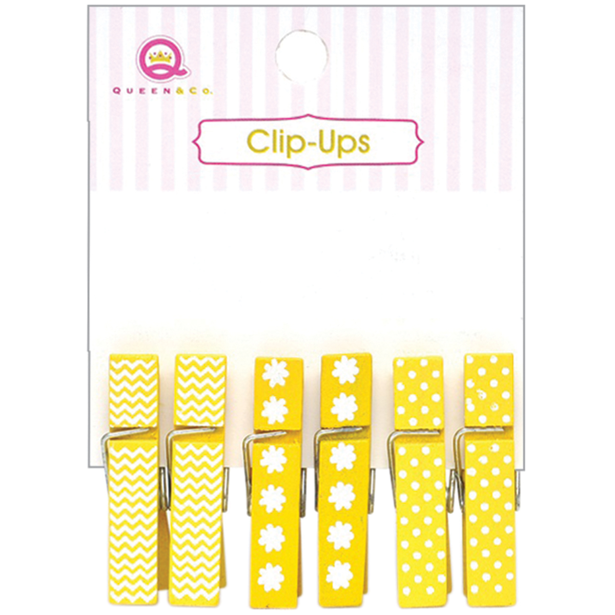 Queen & Co Clip-Ups Mini Clothespins 6/Pkg-Yellow