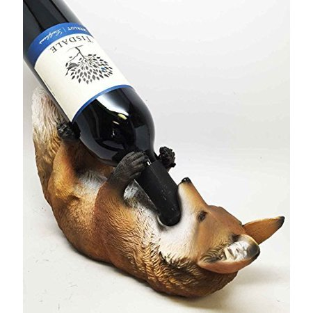 KITCHEN DECOR THE WISE FOX AND THE GRAPES WINE BOTTLE HOLDER FIGURINE by