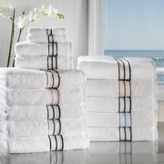 Hotel Collection 900 GSM Long Staple Combed Cotton 6-Piece Towel Set, 2 Bath, 2 Hand, 2 Face White/Charcoal