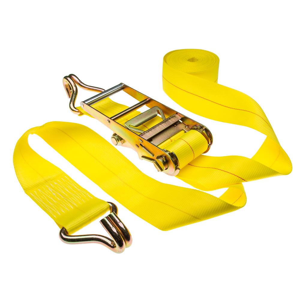 Heavy Duty 15,000 lb. Ratchet Strap with J-Hook Ends 40 ft. x 4 in