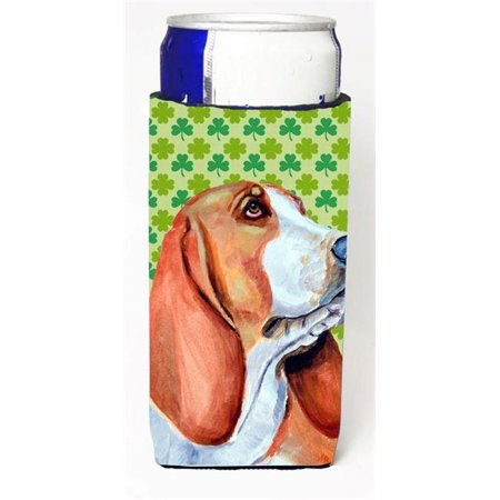 Basset Hound St. Patricks Day Shamrock Portrait Michelob Ultra bottle sleeves for slim cans 12 oz. - image 1 de 1