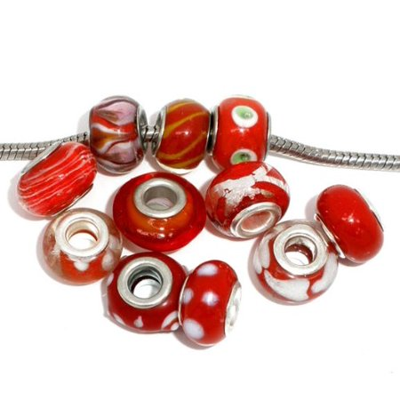 (24 Red Mix, Loose Beads, Lampwork Glass Large 4.5-5mm Hole Silver Plated, Loose Beads,)