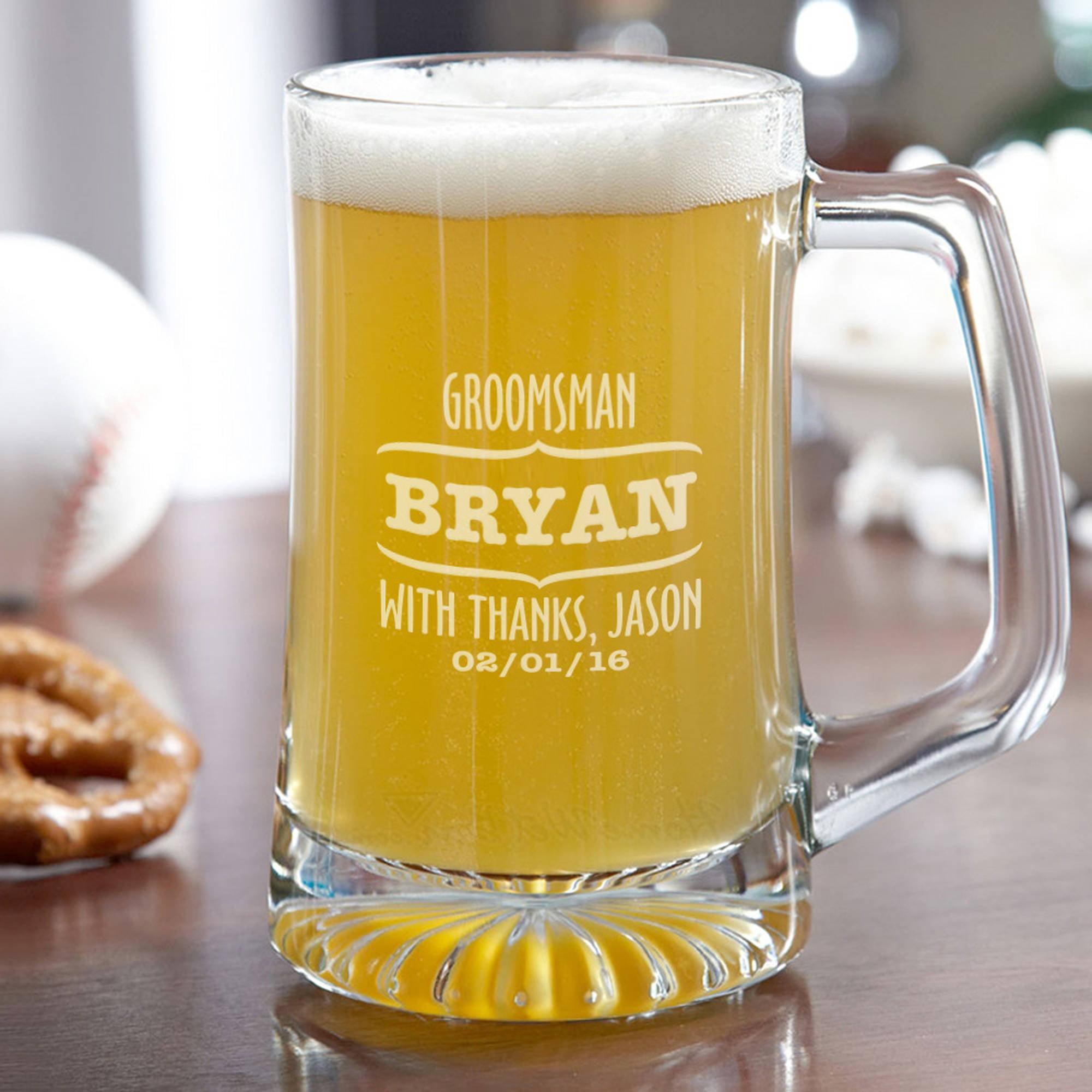 Wedding Party Personalized Groomsman Beer Mug, 15 oz