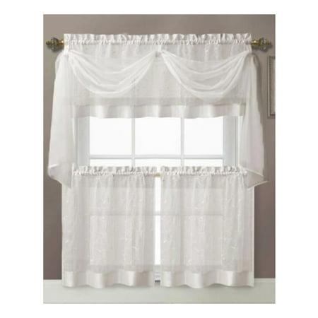 White Embroidered Kitchen Window Curtain Set 1 Valance