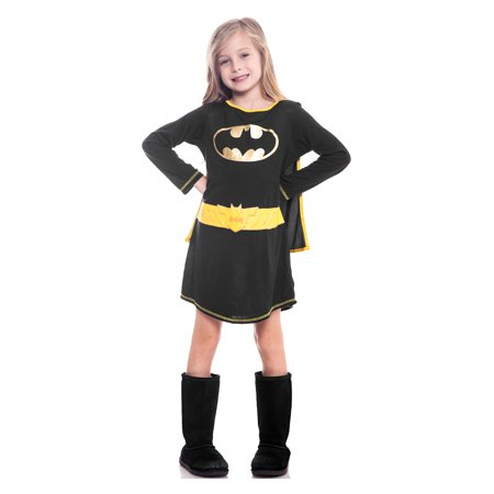 Batgirl Girls Costume Nightgown with Cape Black Large (10/12)